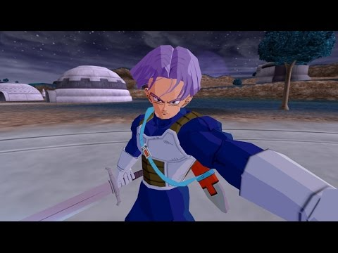 future trunks in armor with short hairs and his sword vs