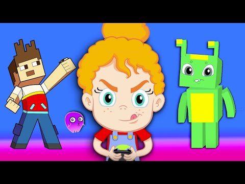 Groovy The Martian in the world of Minecraft! Video Game animation for kids & Nursery Rhymes