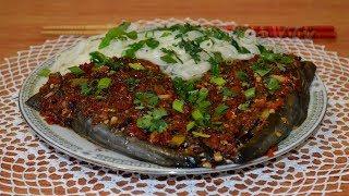 Пряная голова рыбы на пару(剁椒鱼头, Duò jiāo yú tóu). Китайская кухня.