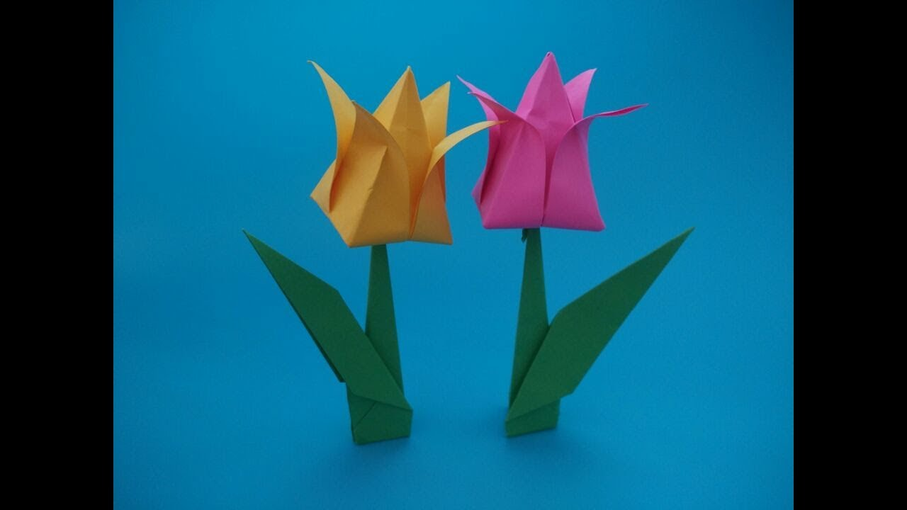Origami Tulipa很簡單的郁金香折紙。擺在桌子上非常漂亮。女孩子們都搶著要學 - YouTube