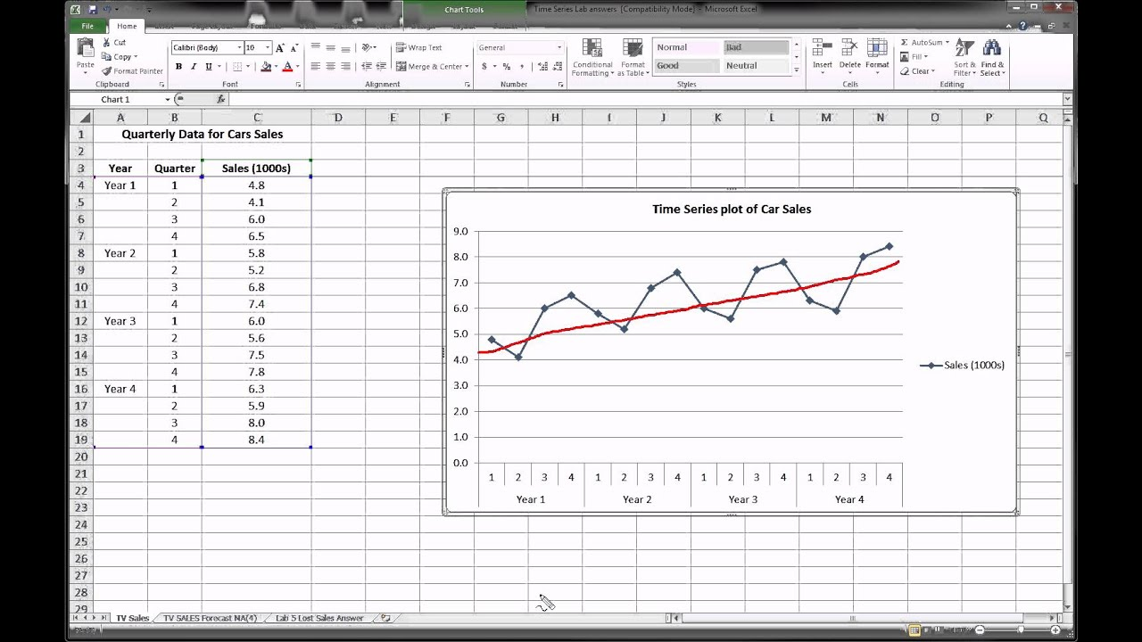 Excel - Time Series Forecasting - Part 1 of 3 - YouTube