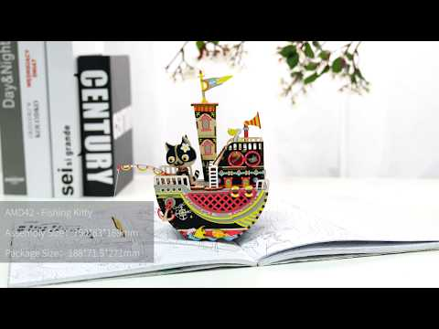 Robotime New arrival music box Series - 3D wooden puzzle - Fishing Kitty AMD42