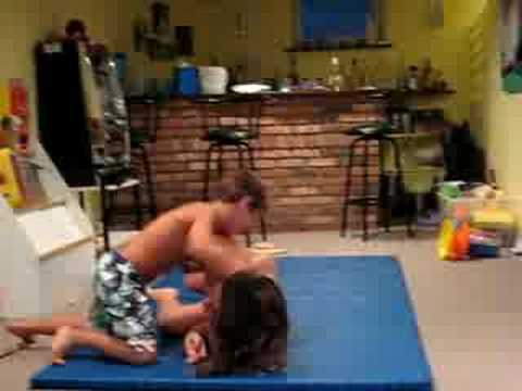 Sister and Brother Wrestling