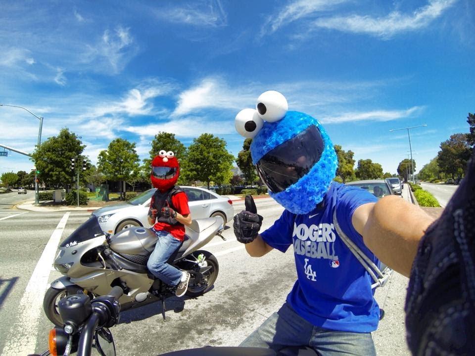Custom Cookie Monster And Elmo Motorcycle Helmet GoPro3 HD