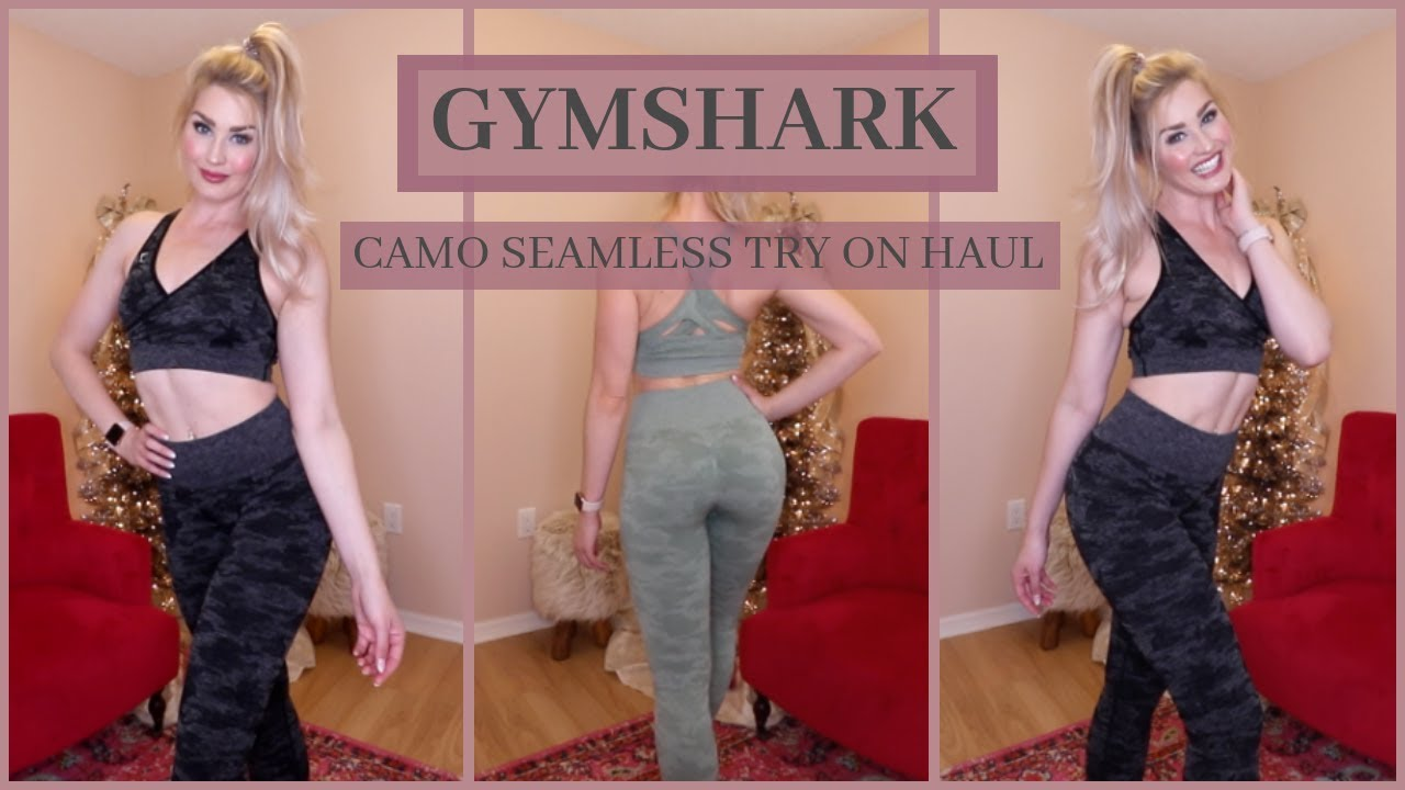 8f3e698829b98 GYMSHARK CAMO SEAMLESS TRY ON HAUL + LULULEMON VEWING - YouTube