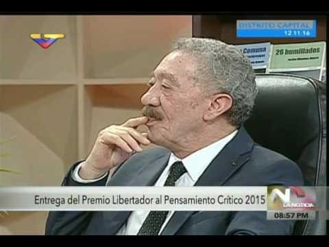 Héctor Díaz-Polanco recibe Premio Libertador al Pensamiento Crítico, Reseña de VTV