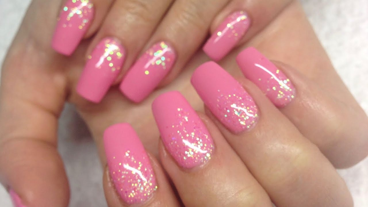 ♡ How to: Pink Gelnails w falling glitter - YouTube