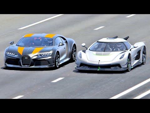 Koenigsegg Jesko Absolut vs Bugatti Chiron Super Sport 300+ – Drag Race 20 KM