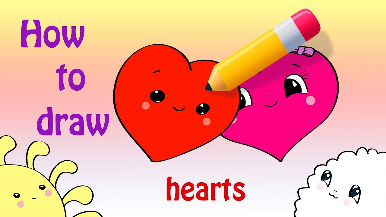 how to draw a cute couple of hearts a valentine u0027s day card