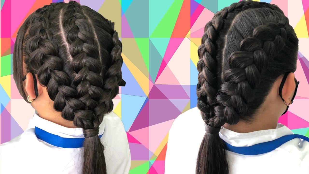 #Quedate en casa y #trenza #Conmigo Triple trenza normal facil de hacer/#Stay home #braids