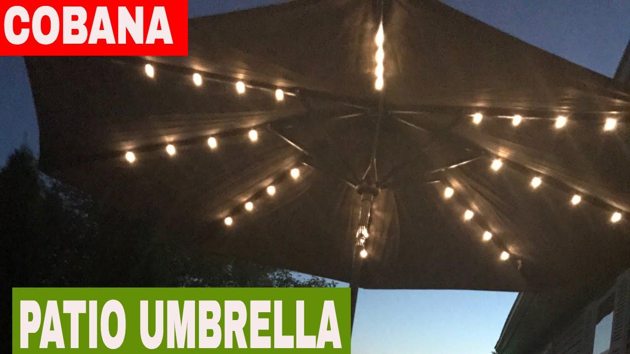 cobana patio umbrella w solar led lights review