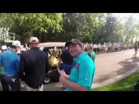 21 yr old Jordon Spieth asks Jack Nicklaus for his Autograph in the Par 3 tournament 2015 MASTERS!