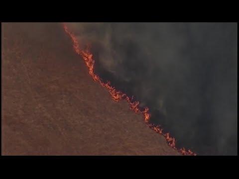Raw Video: Chopper 5 Over Dublin Grass Fire