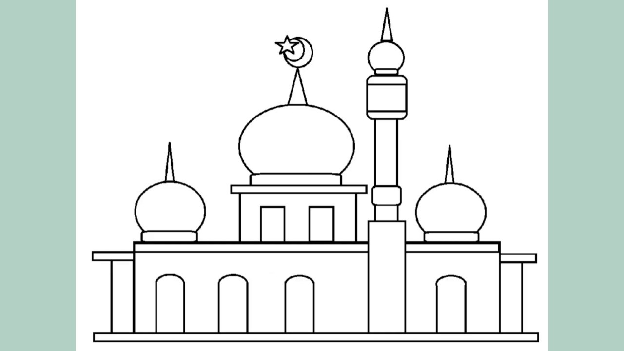 Simple Mosque Sketch Drawing Collection As A Learning Coloring Drawing Medium