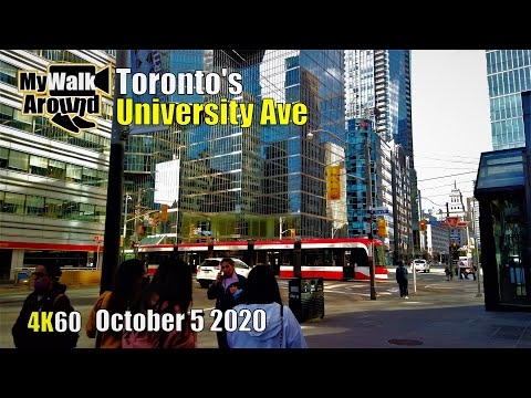 Downtown Toronto University Ave Skyscraper & glass towers walk on October 5 2020 (4k Toronto video)