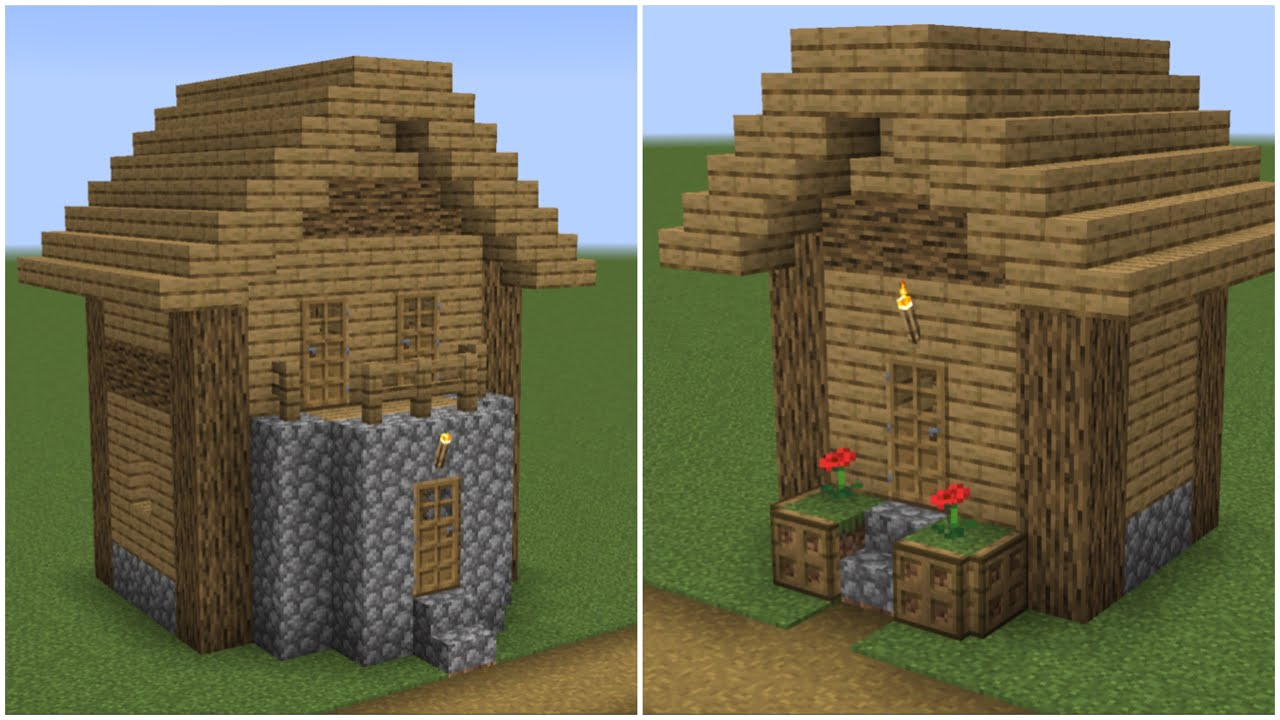 How to build a Minecraft Village Small House 8 & 8 (8.84 plains)