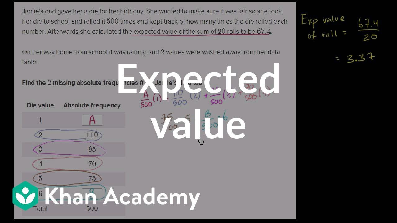 Getting Data From Expected Value Video Khan Academy