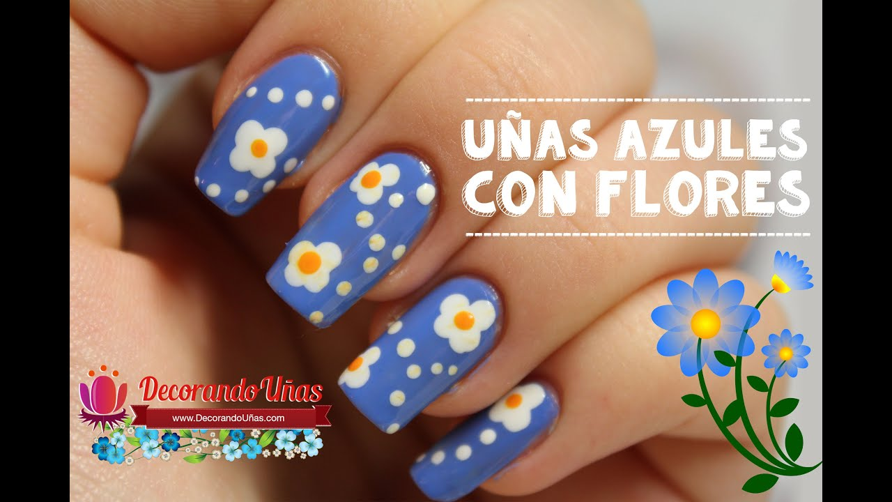 U as azules decoradas con flores youtube for Decoracion de unas simple