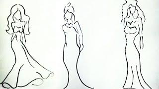 3 tane kolay kız kıyafeti çizimi