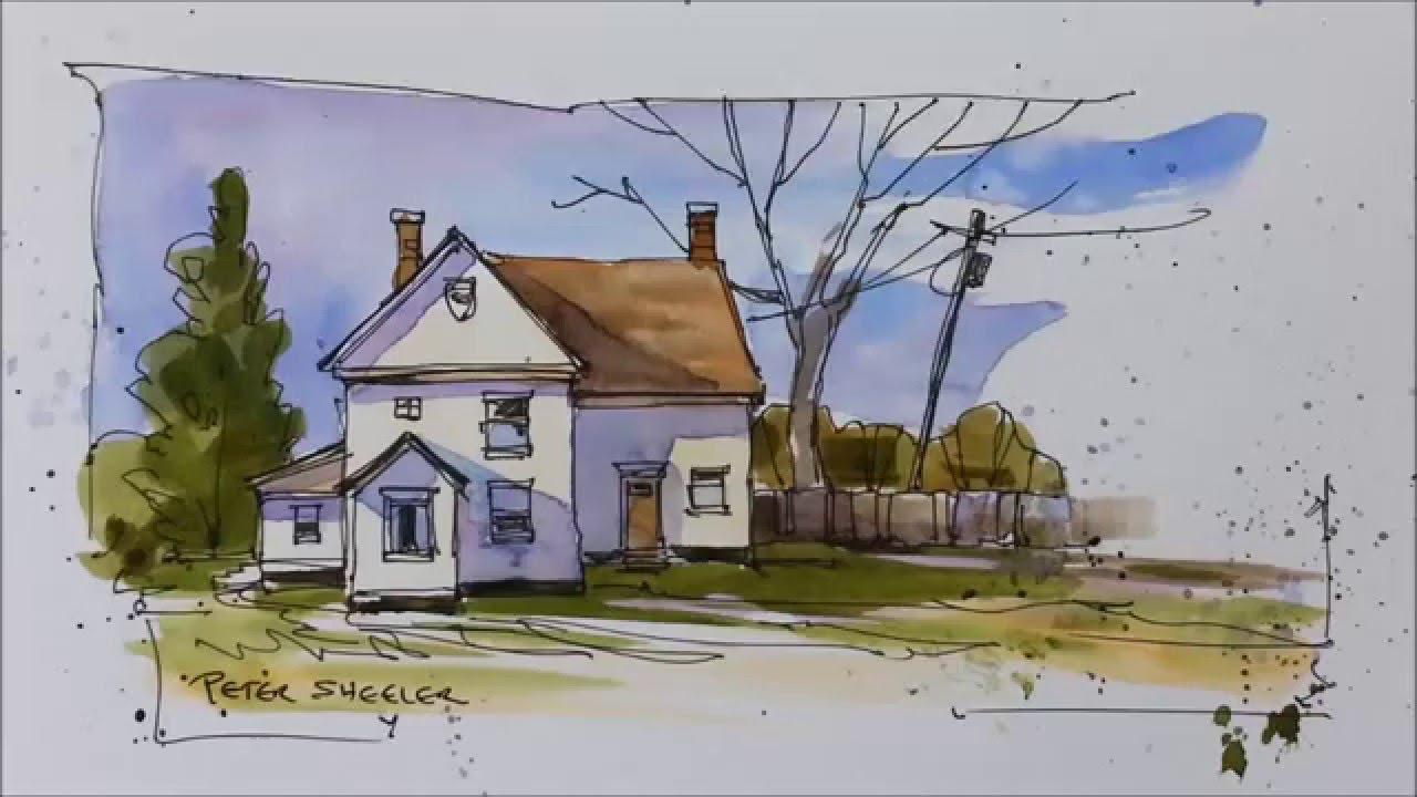 Pen And Wash Demonstration Of A Country Farmhouse Easy To Follow Learn With Peter Sheeler