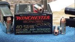 40 PDX1 180gr Winchester Bonded Ballistic gel test