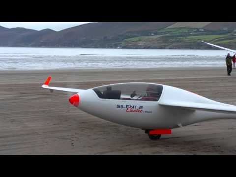 Electric powered glider at Inch Beach, Ireland.