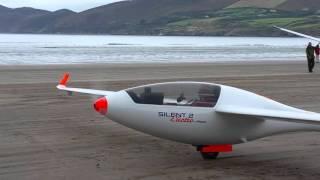 Electric powered glider at Inch Beach, Ireland.