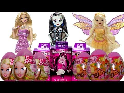 Киндер Сюрприз игрушки для девочек Барби, Монстер Хай, Винкс на русском. Barbie, Monster High, Winx