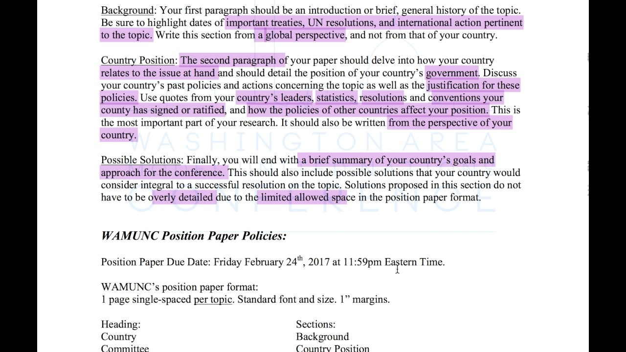 how to write position papers - Brief Essay Format