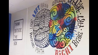 Painting a Mural of a Left Brain & Right Brain