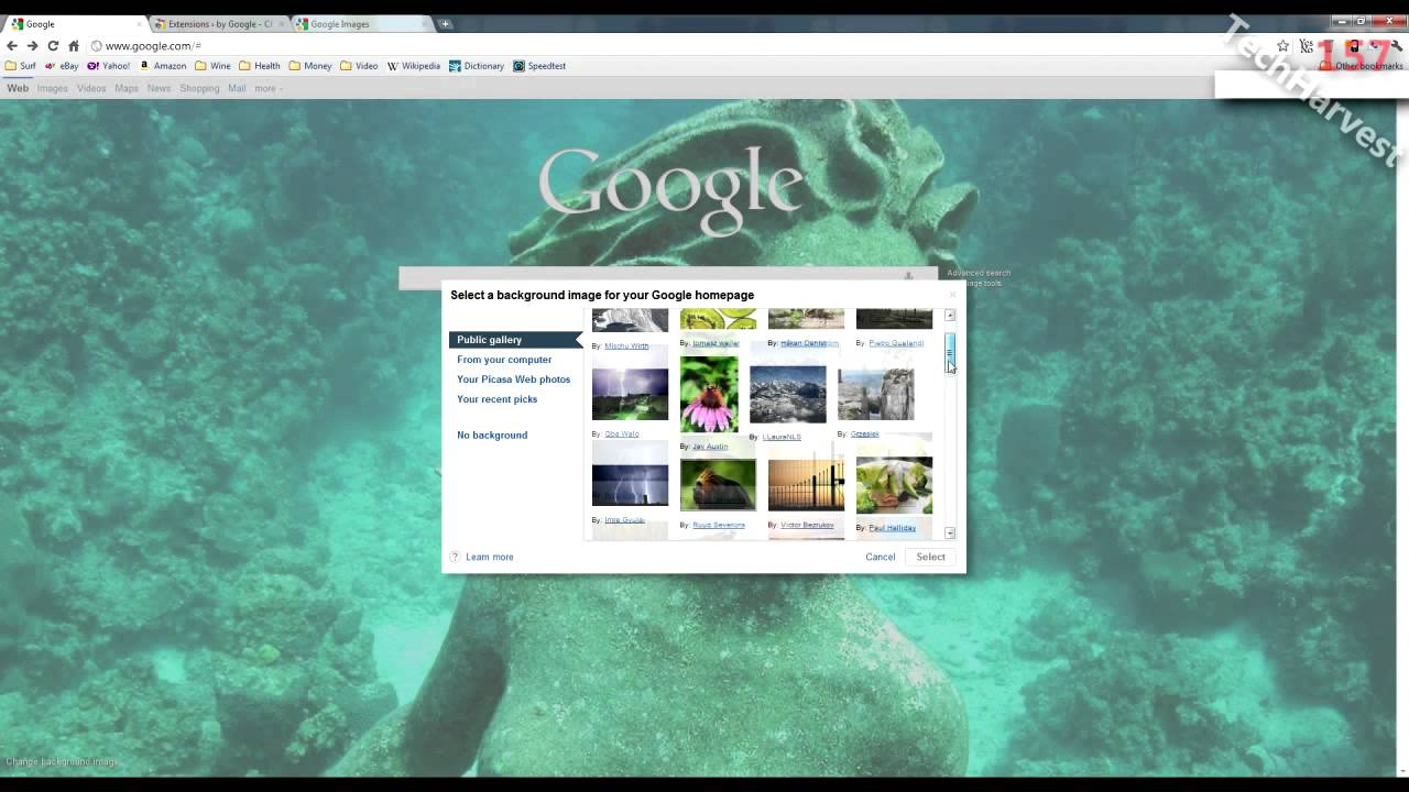 Google homepage themes gallery - Quick Tip Changing The Background Image On Your Google Homepage