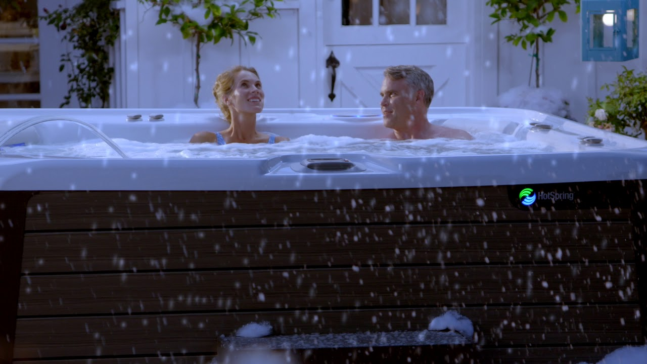 hot tub in the snow with spring dance hot tubs youtube. Black Bedroom Furniture Sets. Home Design Ideas