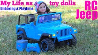 Pretty TOY DOLL Unboxing and Remote Contol Car Playtime. Toy Car JEEP Wrangler. My Life As