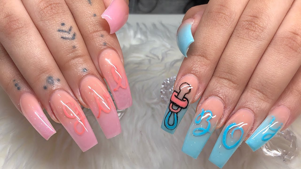 Gender Reveal Nails Tutorial Themaletech Beauty Technique