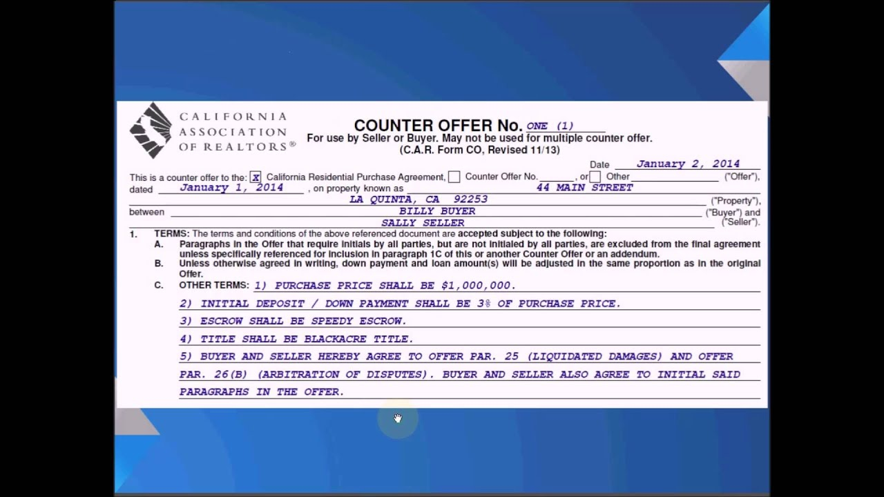 Counter Offer Letter For Real Estate Newletterjdi Co
