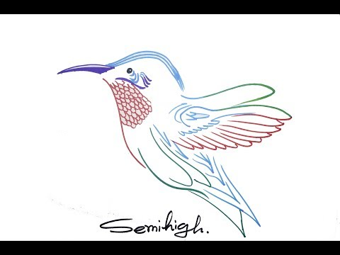 How to draw color hummingbird Easily   Cool pen drawing   SemiHigh