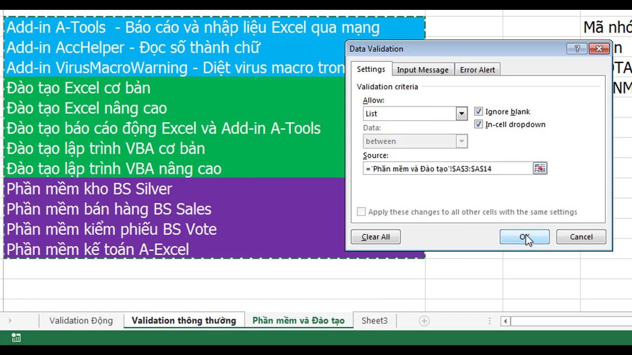 Tạo danh sách chọn động – Data validation list động trong Excel