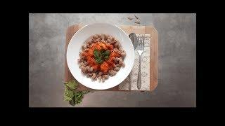 Паста с креветками в томатно-чесночном соусе