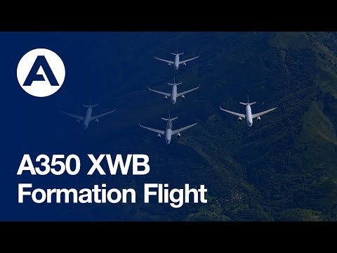 """""""Family flight"""" – Five Airbus A350 XWBs together in flight"""