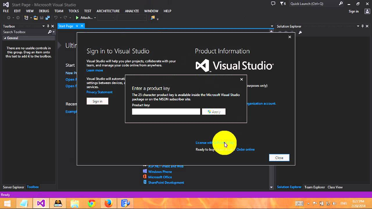 microsoft visual basic 2012 express registration key