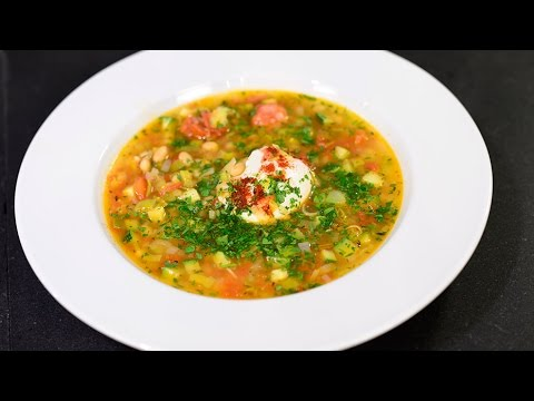 Spanish Bean Soup with Navy Beans, Chorizo, Leeks and a Poached Egg