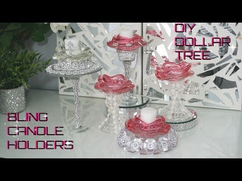 DIY DOLLAR TREE | BLING GLAM CANDLE HOLDERS | DIY NEW GLAM ROOM\HOME DECOR IDEAS 2018 | PETALISBLESS
