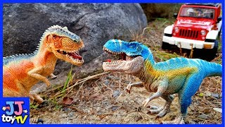 Jurassic World Trip By Jeep Truck. Dinosaurs Safari T-Rex Velrociraptor Toy For Kids[Jjtoy Tv]