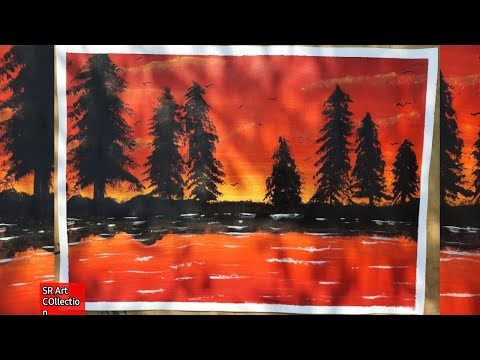 Sunset landscape painting/acrylic painting/sunset painting for beginners/how to paint a sunset scene