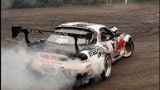 Mad Mike Mazda RX7 Drifts & Huge Burnout & Sounds