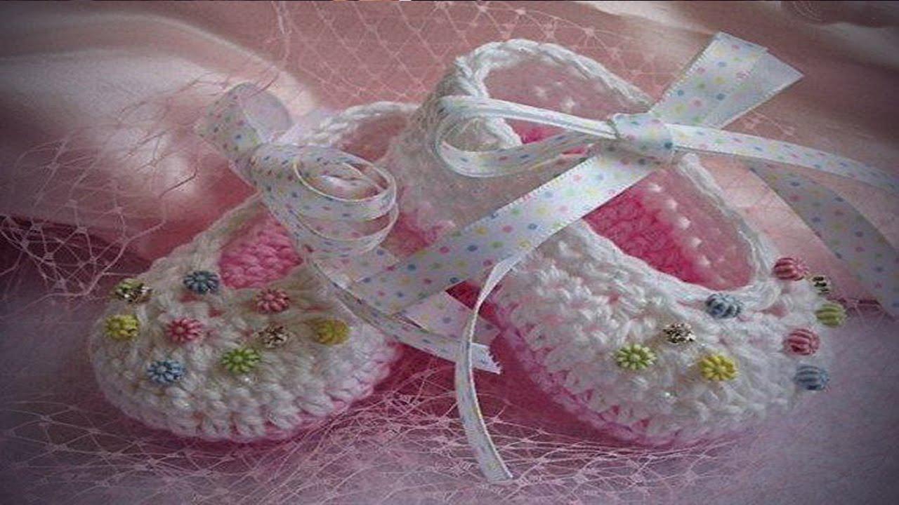Hermosos Zapatos de bebe tejidos en crochet diseños