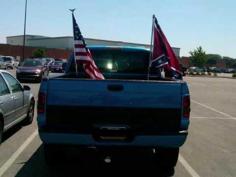 rebel & american flag on truck - YouTube