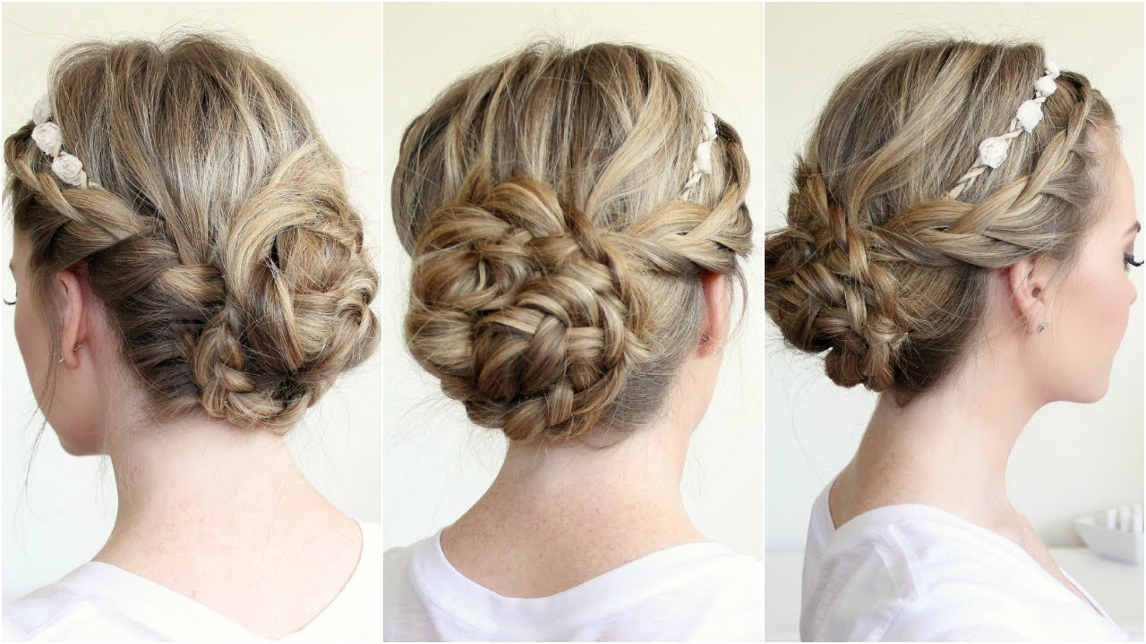 braided updo with flower crown
