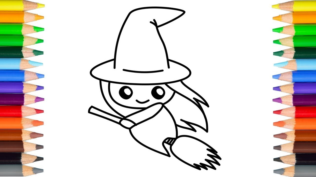 How to draw a cute Halloween witch   Step by Step   Easy ...