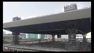 【東京2020大会】東京アクアティクスセンター 第三回屋根リフトアップ工事動画